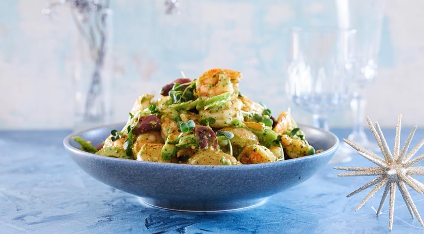 Картофельный салат с креветками и маслинами, пошаговый рецепт с фото