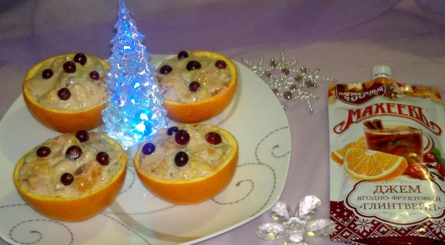 Фруктовый салат в апельсиновых корзиночках с Махеевъ, пошаговый рецепт с фото