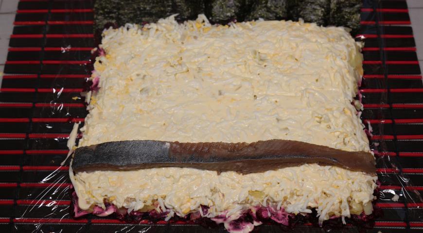 Сельдь под шубой в виде роллов с «Махеевъ», пошаговый рецепт с фото