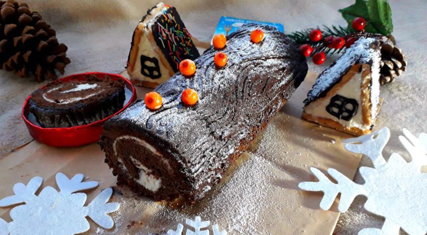 """Рождественское полено с творожным кремом  """"Зимняя сказка"""", пошаговый рецепт с фото"""