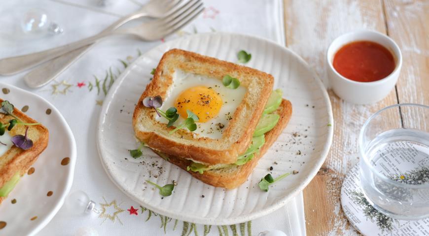 Двойной тост с авокадо и яйцом, пошаговый рецепт с фото