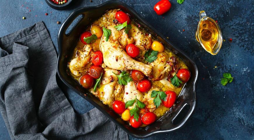 Курица в духовке в белом винном соусе