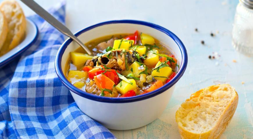 Суп из консервированной сайры с овощами