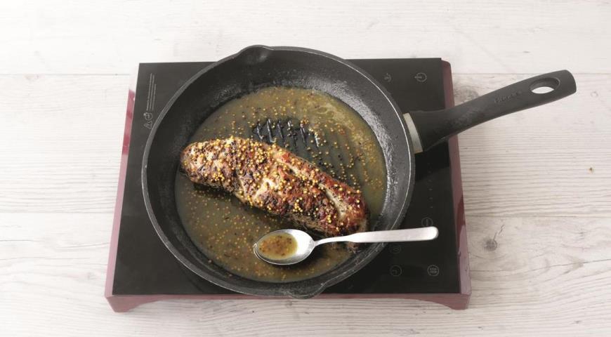 Свиная вырезка в глазури из сидра и горчицы, пошаговый рецепт с фото