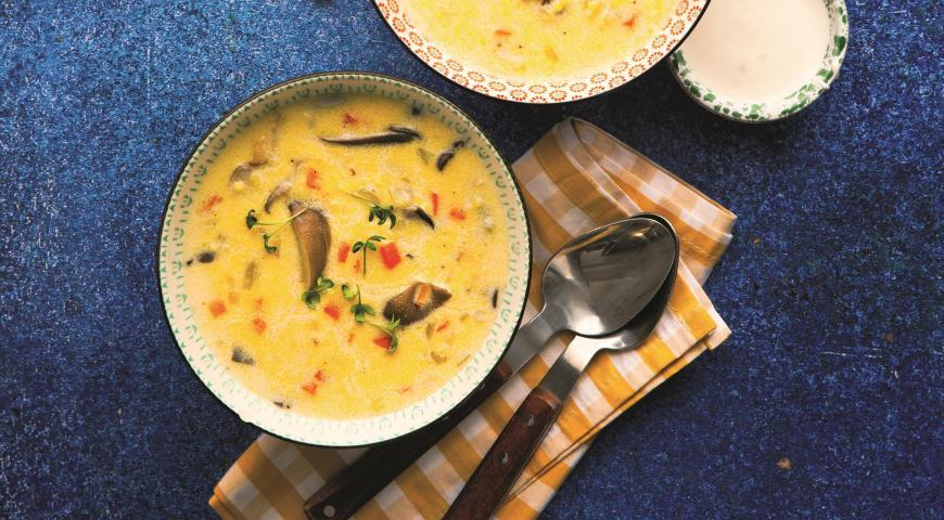 Сливочный суп с пшеном и вешенками 2