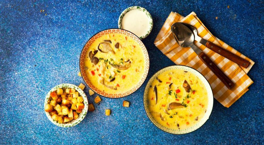 Сливочный суп с пшеном и вешенками