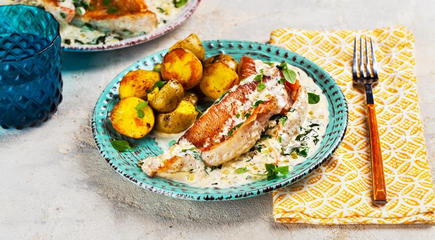 Морской окунь в сливочном соусе с базиликом, пошаговый рецепт с фото