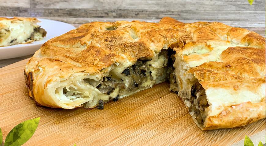 Пирог из лаваша с сыром и грибами, пошаговый рецепт с фото