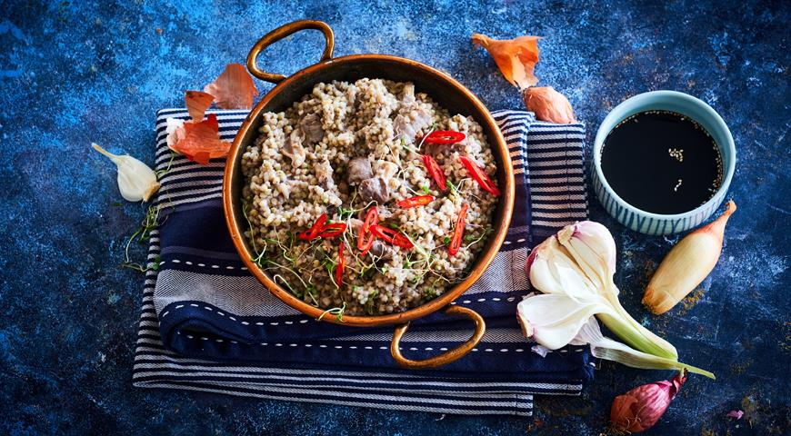 Зеленая гречка с вешенками и кокосовым молоком, пошаговый рецепт с фото