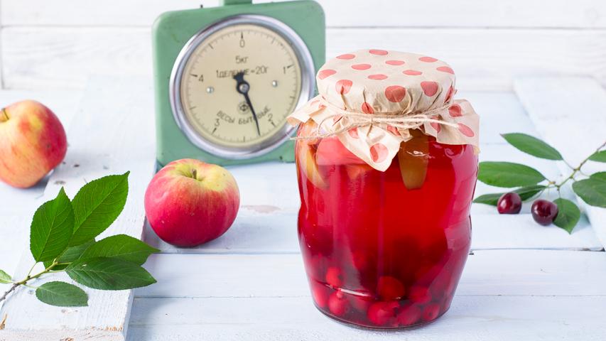 Компот на зиму из вишни и яблок, пошаговый рецепт с фото