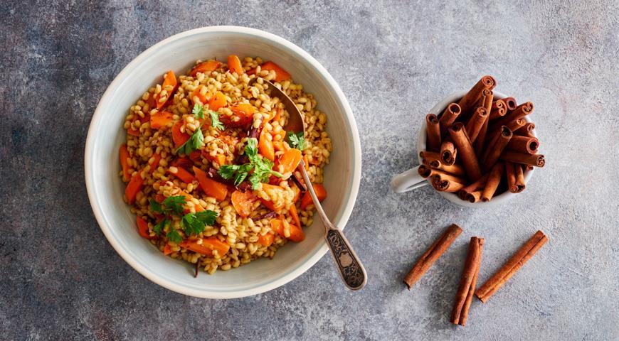 Перловая каша с морковью и пряностями, пошаговый рецепт с фото
