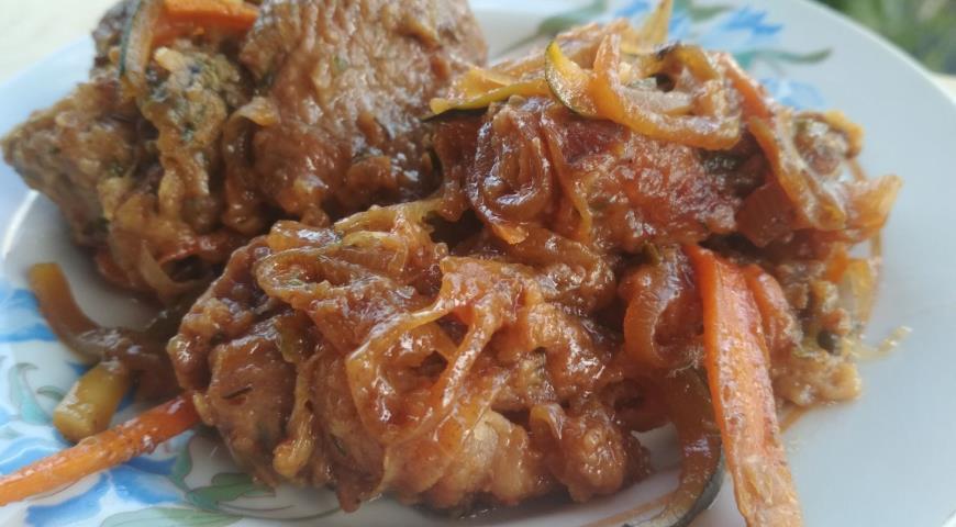 Индейка в соевом соусе и яблочном вине с овощами, пошаговый рецепт с фото