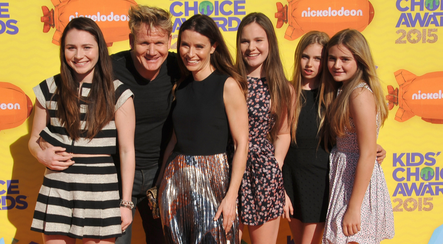 Gordon Ramsay with his wife and daughters
