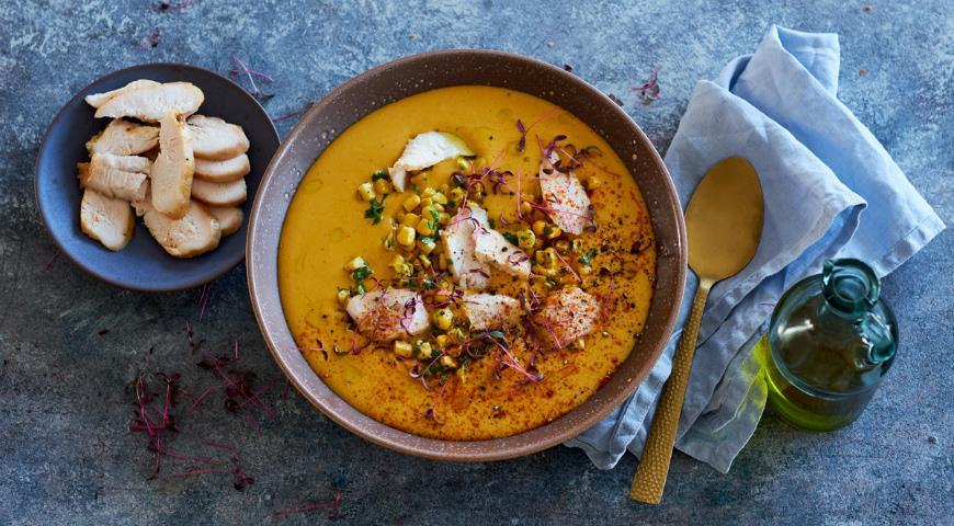 Кукурузный суп со сладким перцем