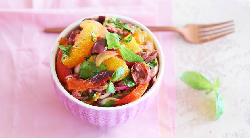 Марокканский салат из перца с апельсинами