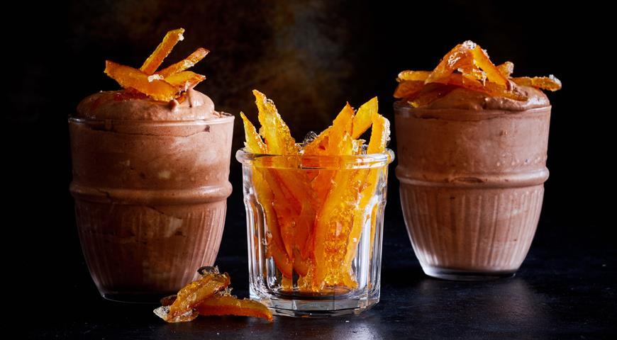 Шоколадный мусс с апельсиновыми цукатами, пошаговый рецепт с фото