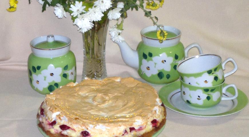 Творожный торт с вишней, пошаговый рецепт с фото