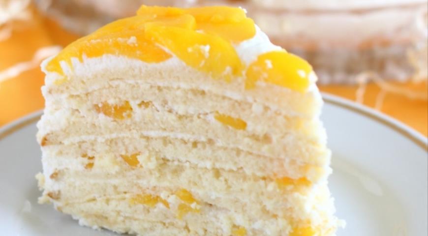 Торт Молочная девочка с персиками, пошаговый рецепт с фото