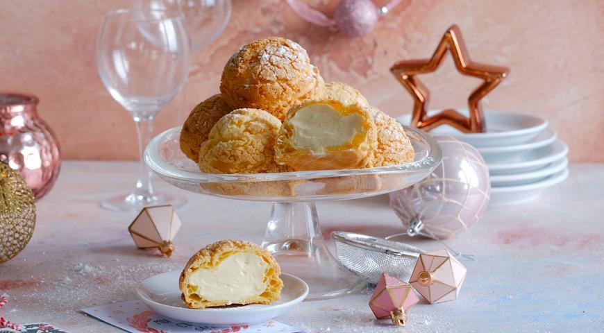 Пирожные шу с кардамоновым кракелюром и сливочным заварным кремом, пошаговый рецепт с фото