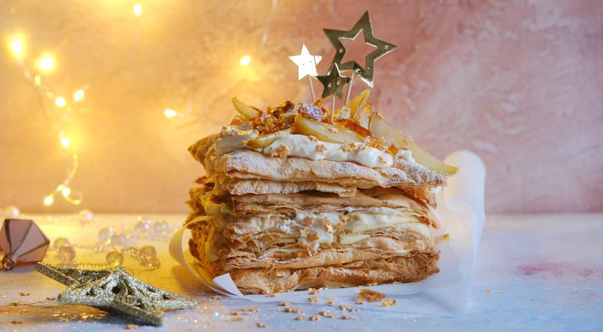 Слоеный торт с сырным заварным кремом и грушами, пошаговый рецепт с фото
