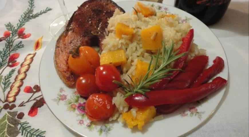 Красная рыба с зимним рисом , пошаговый рецепт с фото