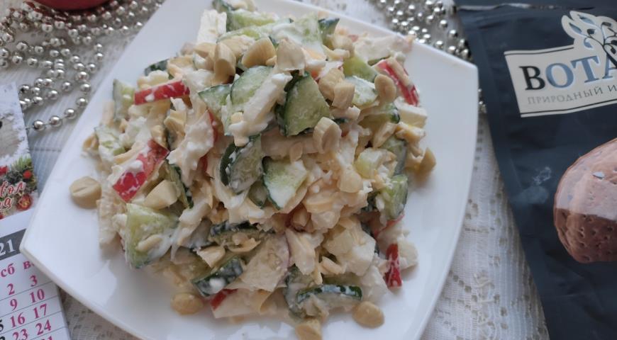 Салат с миндалём, огурцами и яблоками, пошаговый рецепт с фото