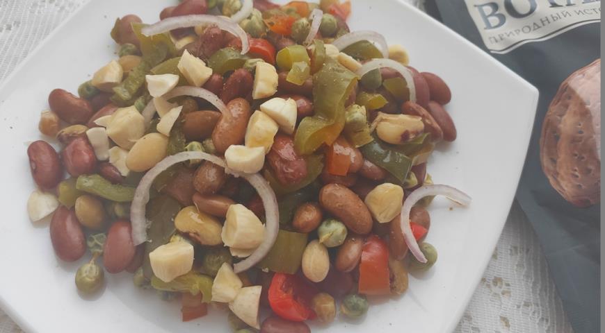 Теплый салат с фасолью и овощами, пошаговый рецепт с фото