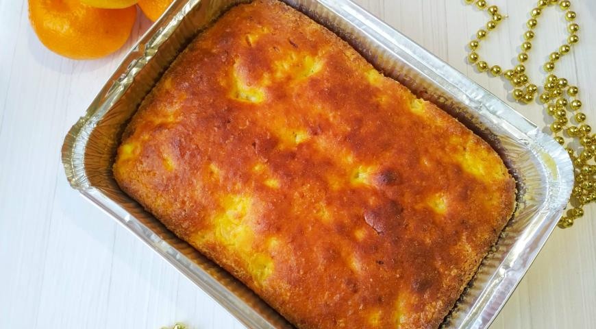 Легкий творожный кекс-запеканка с мандаринами без муки, пошаговый рецепт с фото