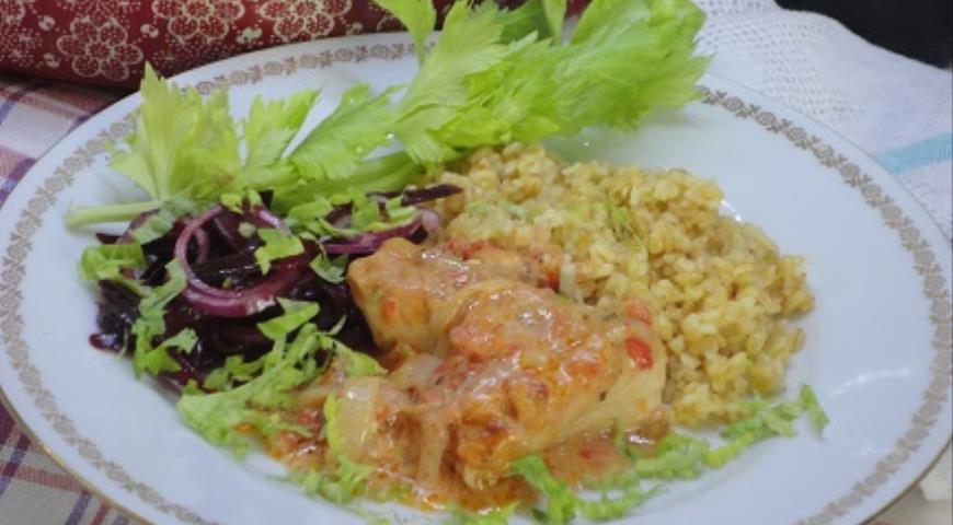 Курица в томатно-сливочном соусе, пошаговый рецепт с фото