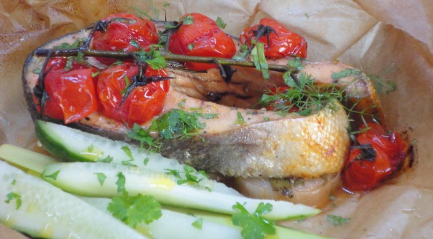 Рыба, запеченная с овощами, пошаговый рецепт с фото
