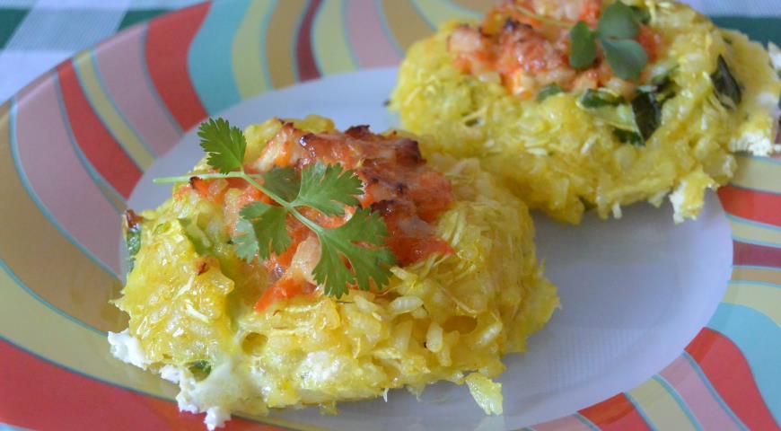 Гнёзда из кабачков с рисом, пошаговый рецепт с фото
