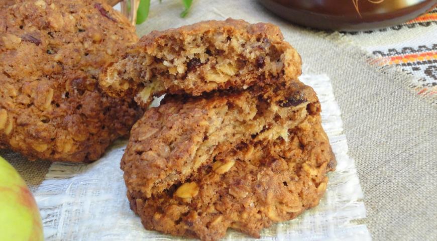 Овсяное печенье с курагой и шоколадом, пошаговый рецепт с фото
