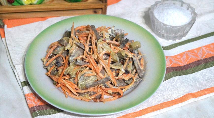 Салат из свиной печени с морковью по-корейски, пошаговый рецепт с фото