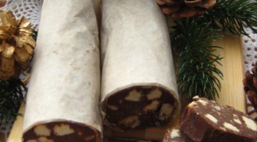 Шоколадная колбаса , пошаговый рецепт с фото