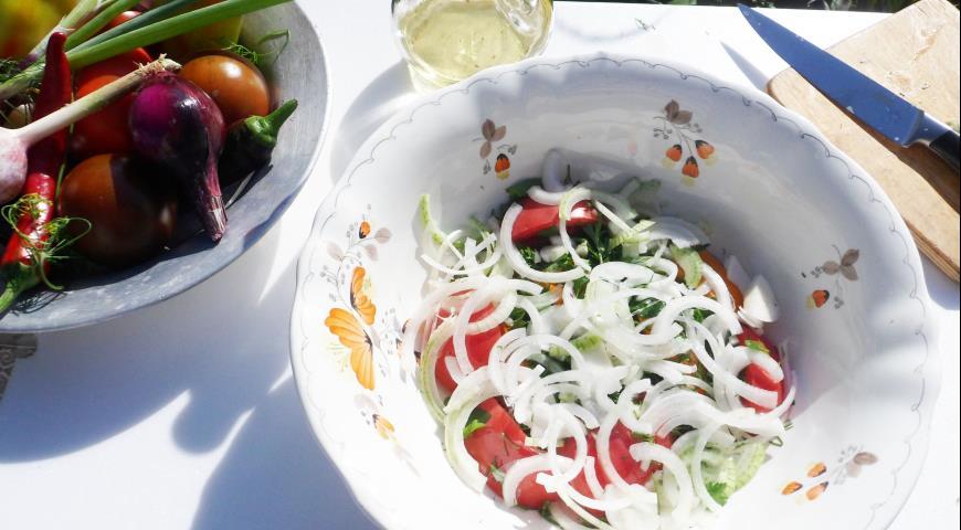 Салат из помидоров Дачный, пошаговый рецепт с фото