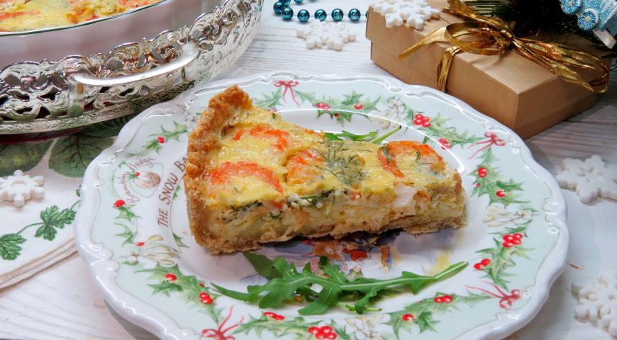Сырный пирог с креветками, пошаговый рецепт с фото
