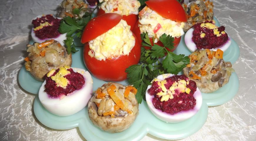 Праздничное ассорти из трёх закусок, пошаговый рецепт с фото