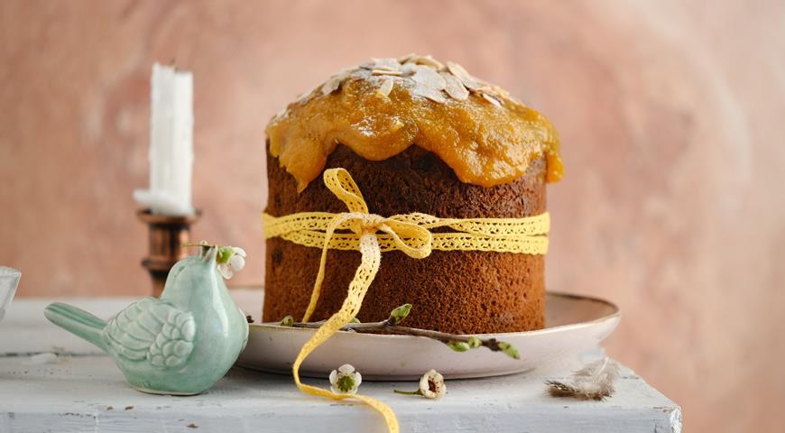Кулич с абрикосовой глазурью, пошаговый рецепт с фото