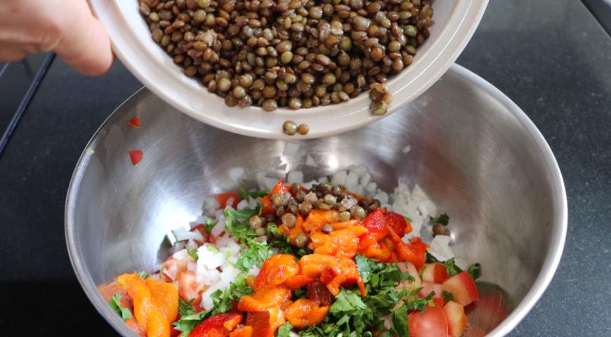 Марокканский салат с чечевицей , пошаговый рецепт с фото
