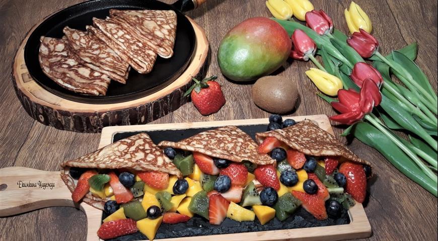 Блины с фруктами, которые не испортят фигуру, пошаговый рецепт с фото