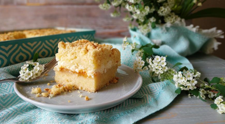 Песочный пирог с творогом , пошаговый рецепт с фото