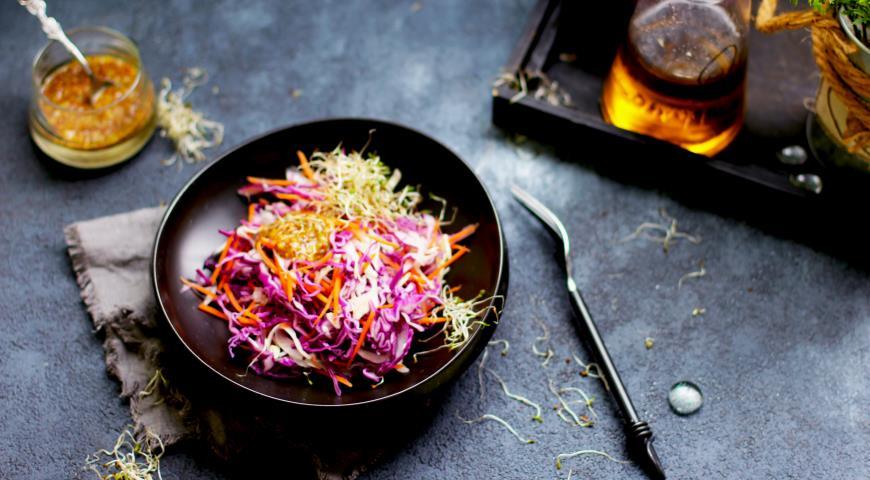 Капустный салат с горчичной заправкой, пошаговый рецепт с фото
