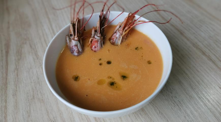 Тыквенный суп с креветками, пошаговый рецепт с фото