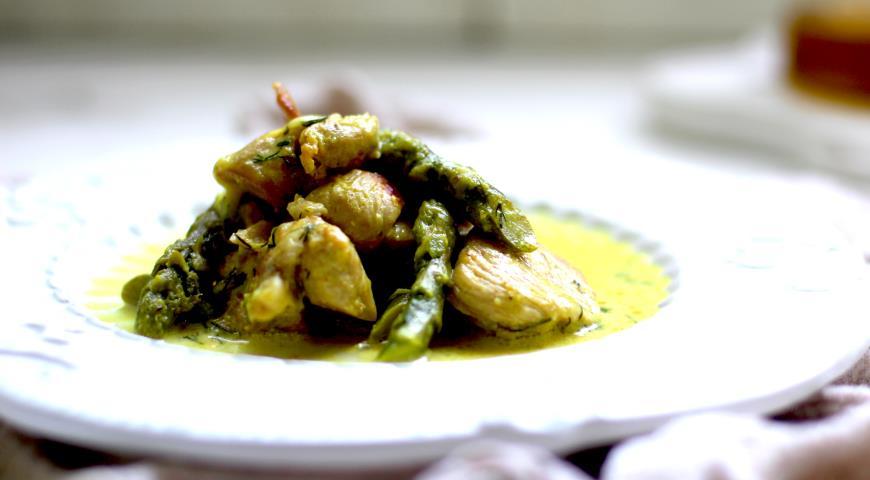 Индейка со спаржей, пошаговый рецепт с фото