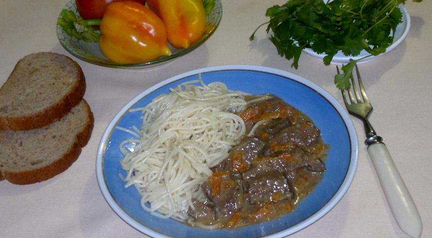 Куриная печень с овощами в сливках, пошаговый рецепт с фото