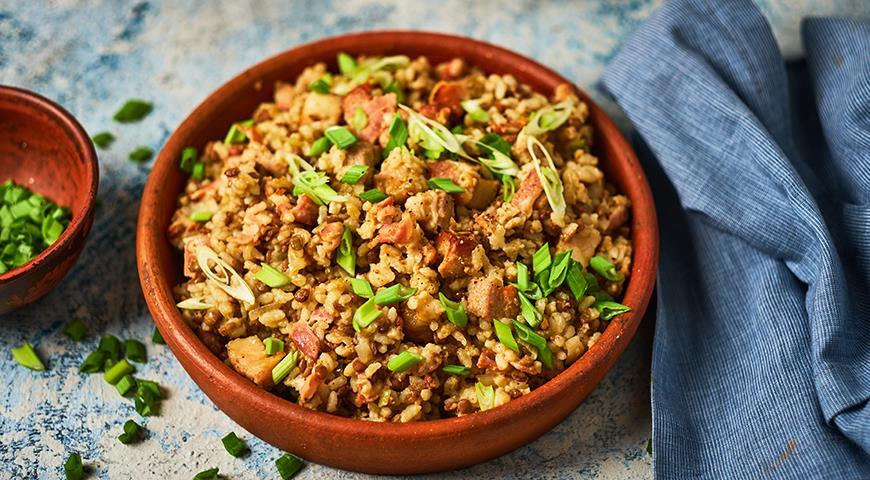 Рисовая каша с чечевицей и беконом, пошаговый рецепт с фото