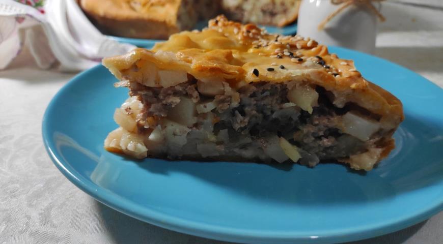 Мясной пирог с картофелем, пошаговый рецепт с фото