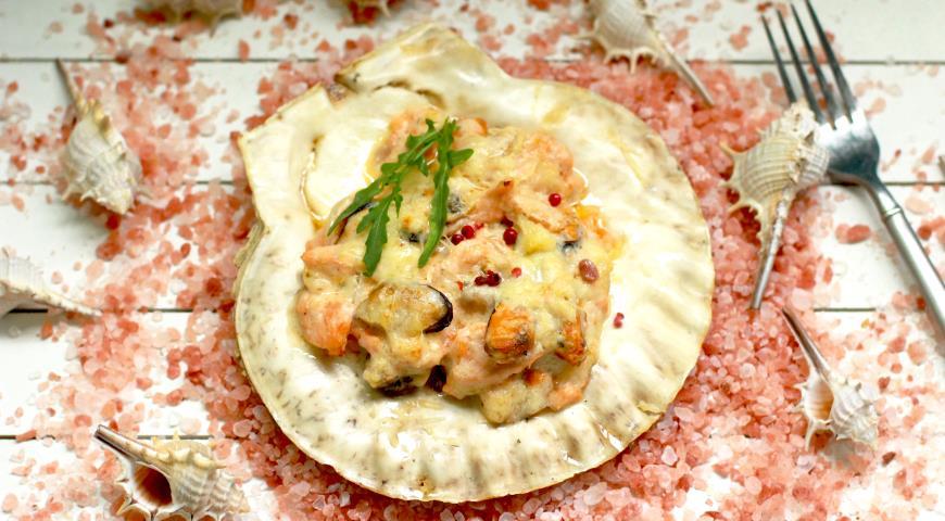 Кокиль из лосося с мидиями, пошаговый рецепт с фото