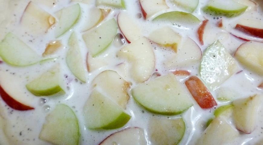 Яблочный пирог со сливочной заливкой, пошаговый рецепт с фото
