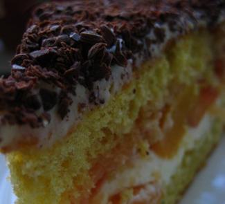 Рецепт Бисквитный торт с нектаринами и ванильным кремом
